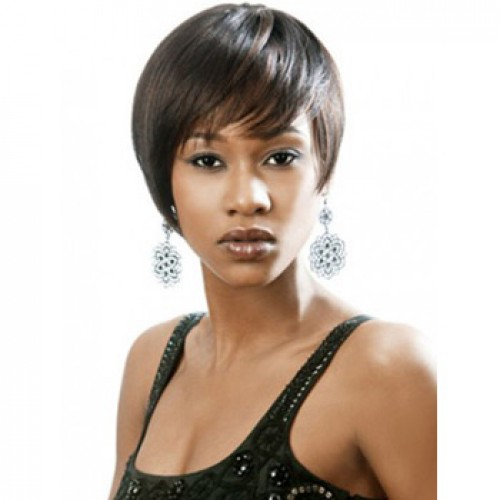 African American Hair Wig Straight Dark Brown