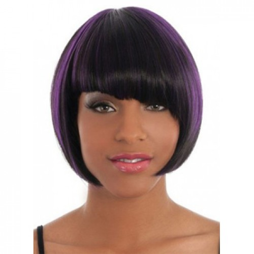 African American Hair Wig Straight Purple Highlight