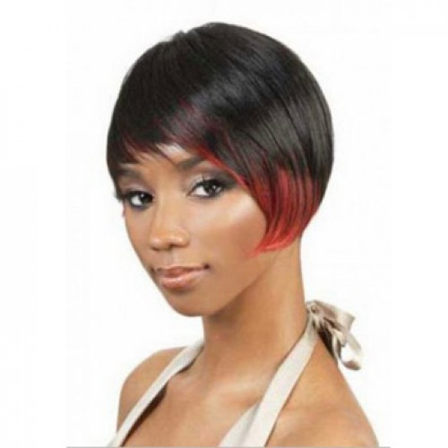 African American Hair Wig Straight Jet Black/Red