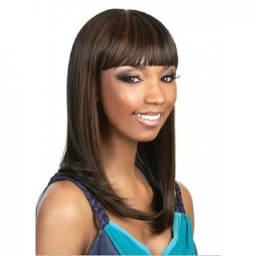 African American Hair Wig Straight Brown Highlight