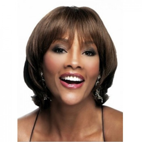 African American Hair Wig Straight Medium Brown