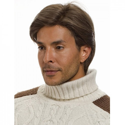 Synthetic Men's Wig Straight Ash Brown