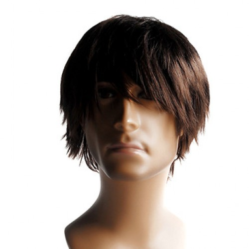 Synthetic Men's Wig Straight Medium Brown