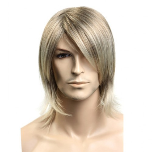 Synthetic Men's Wig Straight Blonde