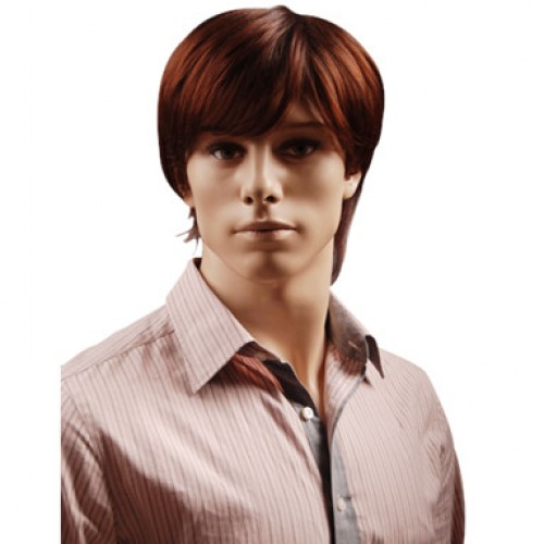 Synthetic Men's Wig Straight Dark Auburn