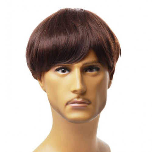 Synthetic Men's Wig Straight Jet Black