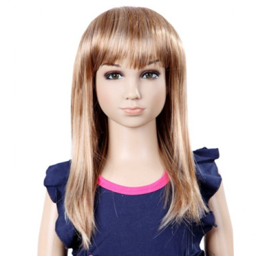 Synthetic Kid's Wig Straight Blonde Highlight