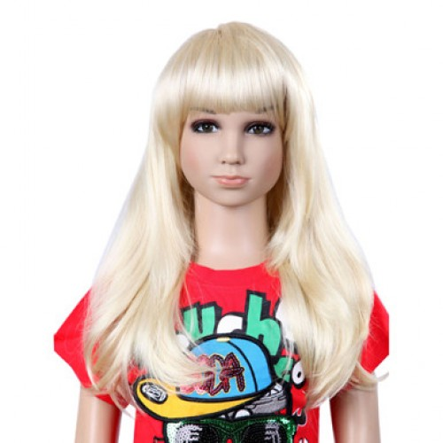 Synthetic Kid's Wig Straight Bleach Blonde