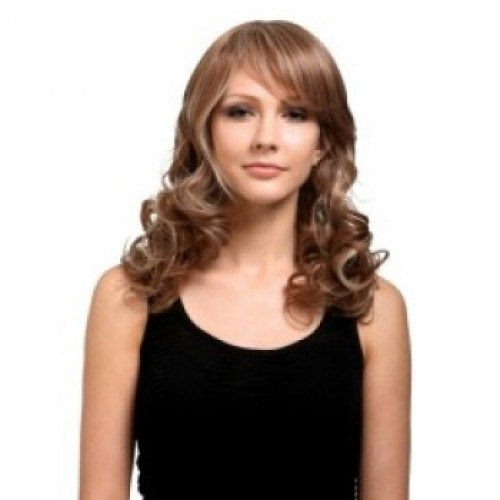 Synthetic Hair Wig Wavy Brown Highlight