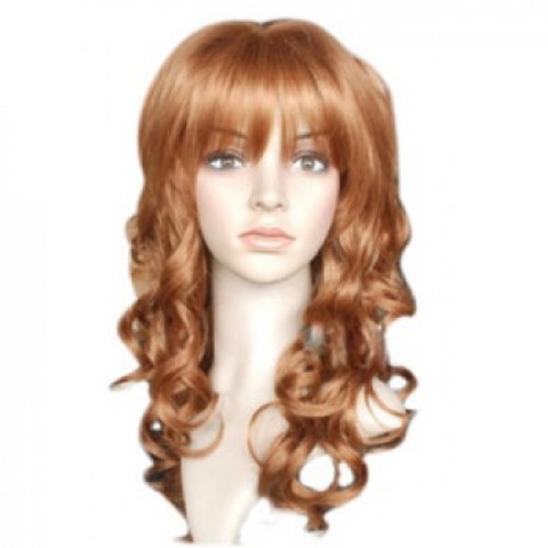 Synthetic Hair Wig Wavy Light Auburn