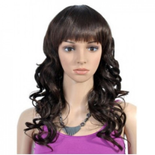 Synthetic Hair Wig Wavy Dark Brown