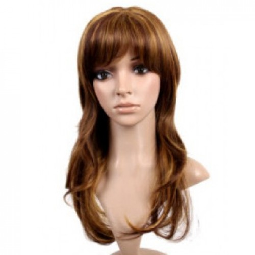 Synthetic Hair Wig Wavy Dark Auburn Highlight