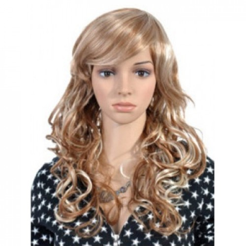 Synthetic Hair Wig Wavy Ash Brown Highlight