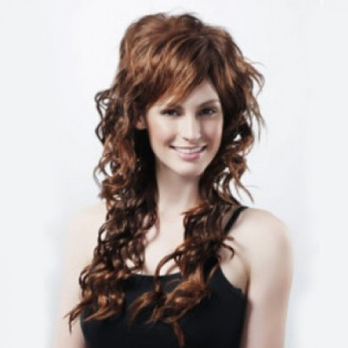 Synthetic Hair Wig Wavy Medium Brown Highlight