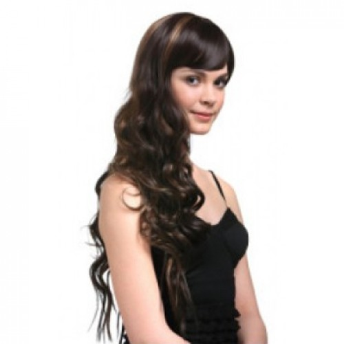 Synthetic Hair Wig Wavy Dark Brown Highlight