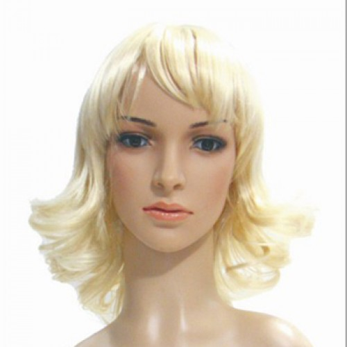 Synthetic Hair Wig Wavy White Blonde
