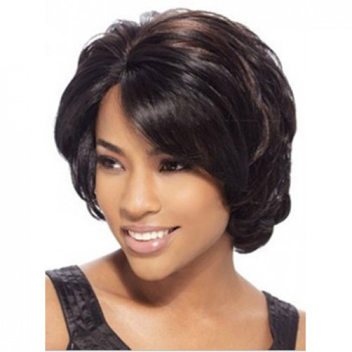 African American Hair Wig Wavy Dark Brown