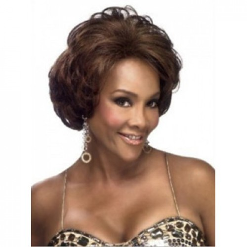 African American Hair Wig Wavy Medium Brown