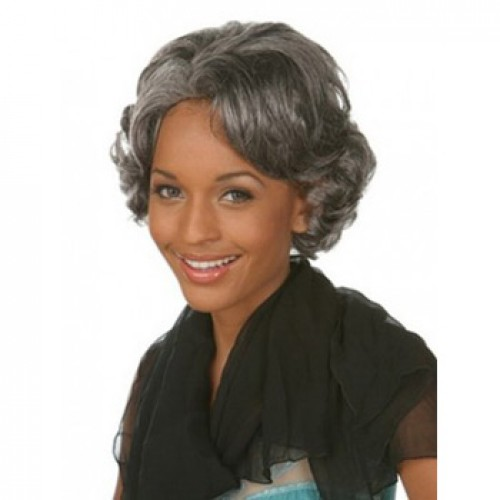 African American Hair Wig Wavy Grey/Black