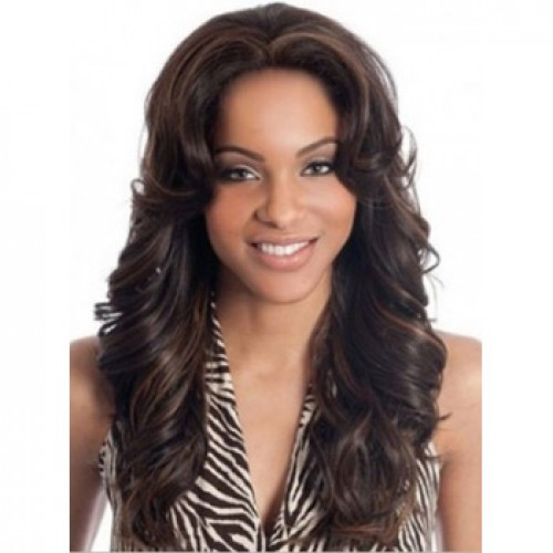 African American Hair Wig Wavy Brown Highlight
