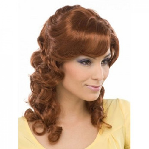 African American Hair Wig Wavy Light Auburn