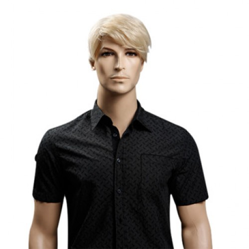 Synthetic Men's Wig Wavy Blonde
