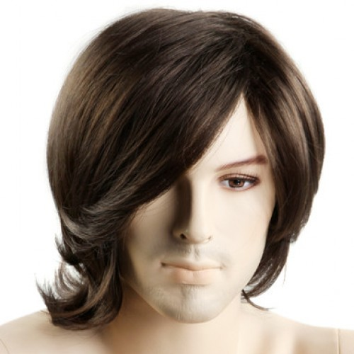 Synthetic Men's Wig Wavy Dark Brown