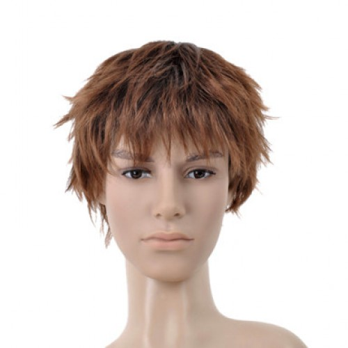 Synthetic Men's Wig Wavy Golden Brown
