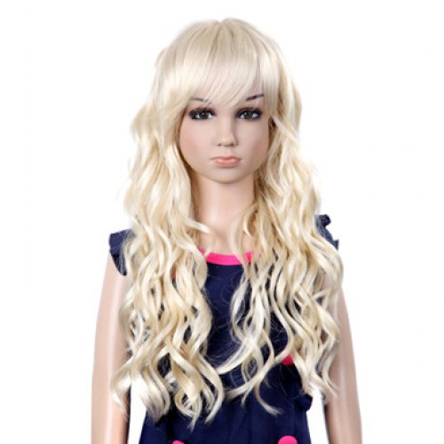 Synthetic Kid's Wig Wavy Bleach Blonde