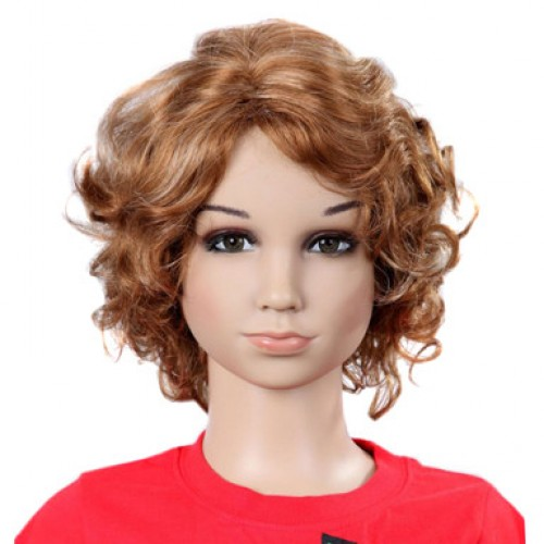 Synthetic Kid's Wig Wavy Auburn