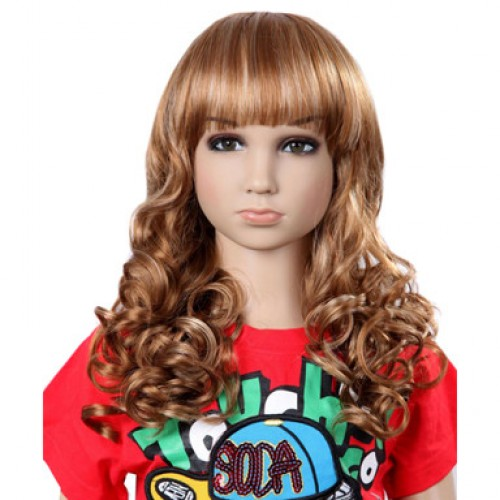 Synthetic Kid's Wig Wavy Blonde Highlight