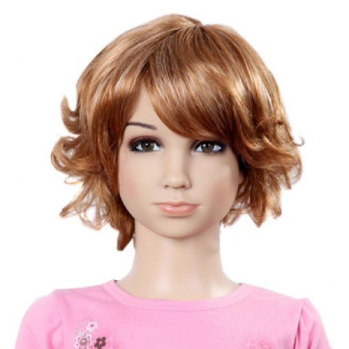 Synthetic Kid's Wig Wavy Golden Brown