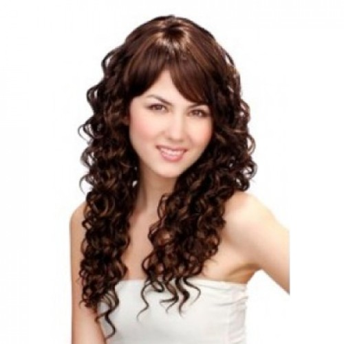 Synthetic Hair Wig Curly Dark Brown