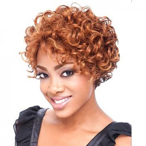 African American Hair Wig Curly Light Auburn