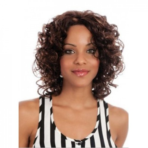 African American Hair Wig Curly Dark Brown