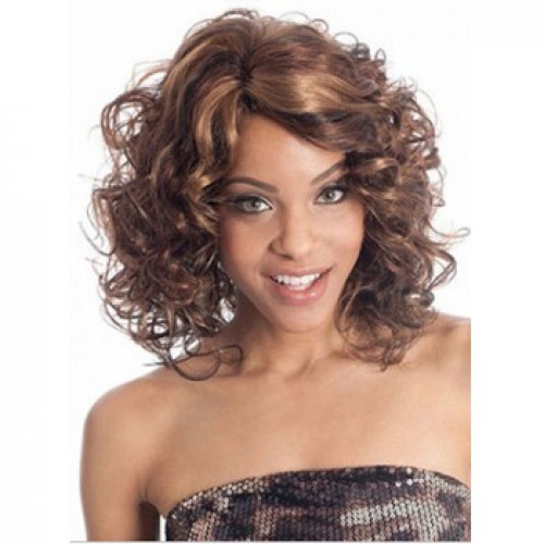 African American Hair Wig Curly Brown Highlight