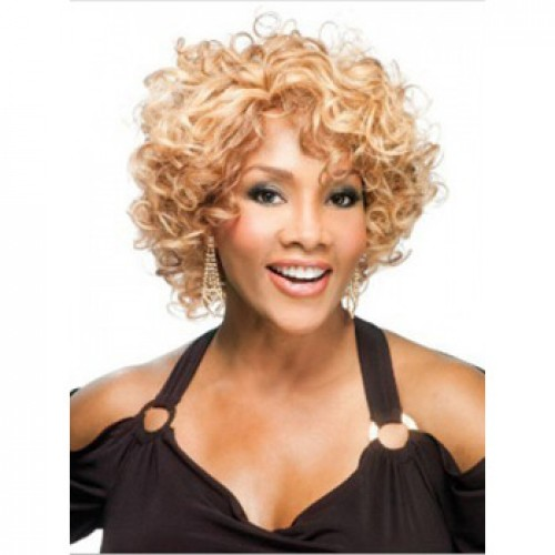 African American Hair Wig Curly Golden Blonde