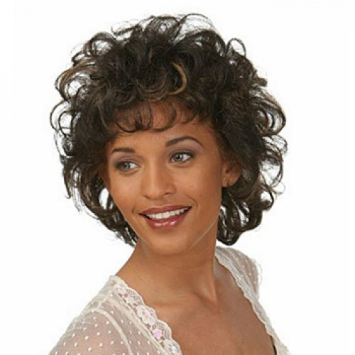 African American Short Curly Brown Cheap Synthetic Basic Cap Wig