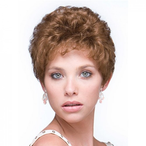 Short curly light anburn wig