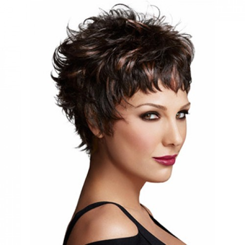 Short wavy black brown wig
