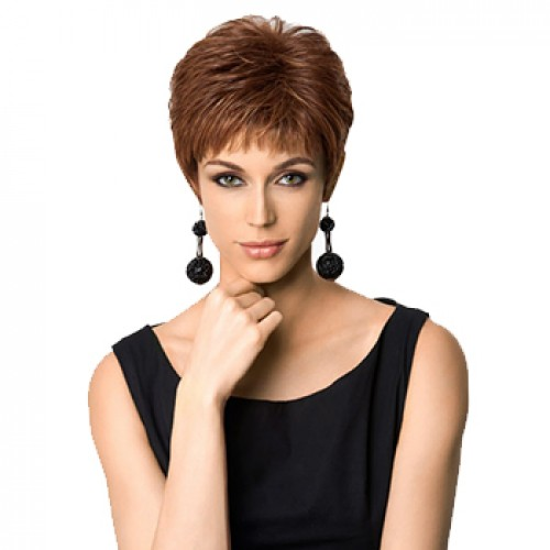 Short straight dark auburn wig