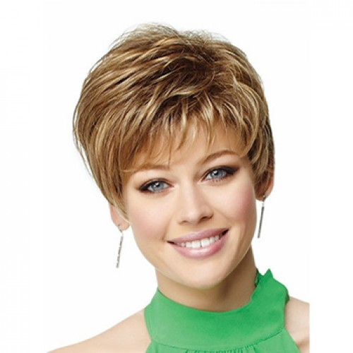 Short straight strawberry blonde wig