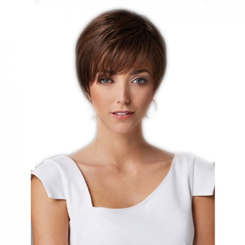 Short straight dark brown wig