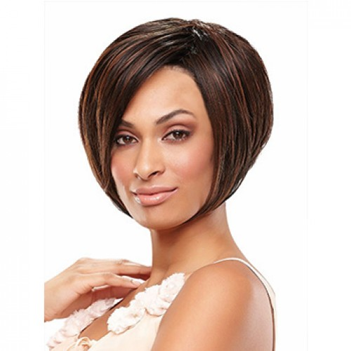 Short straight black brown highlight wig
