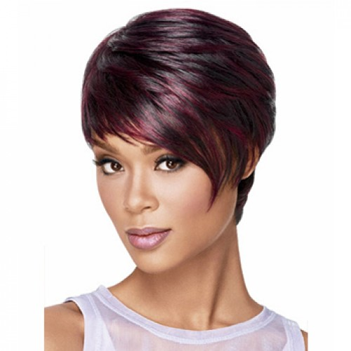Short straight black bug highlight wig