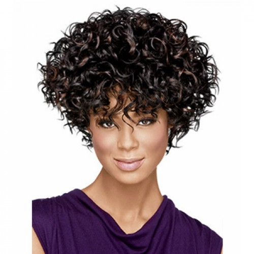 Short curly black brown highlight wig