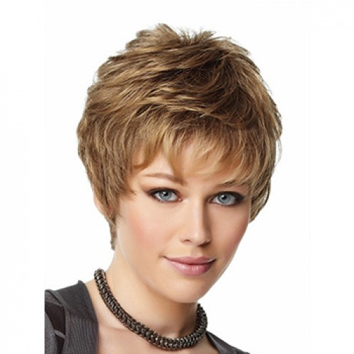 Short wavy ash brown wig