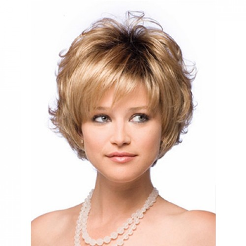 Short wavy golden blonde wig