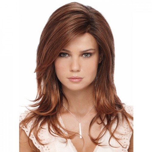 Long straight dark auburn wig