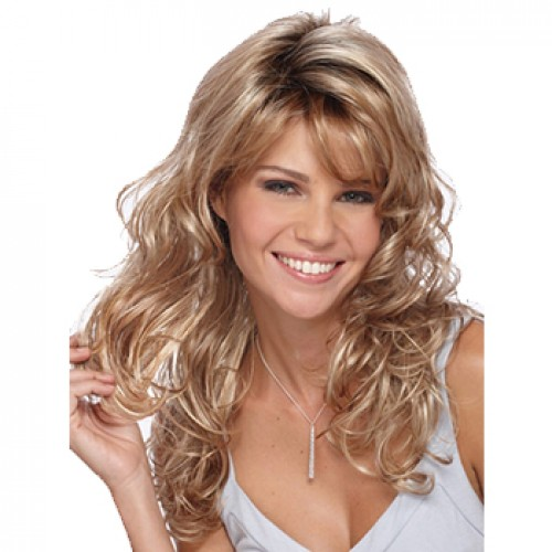 Long wavy platinum blonde wig